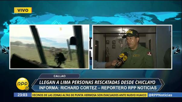 Llegan a Lima personas rescatadas desde Chiclayo.