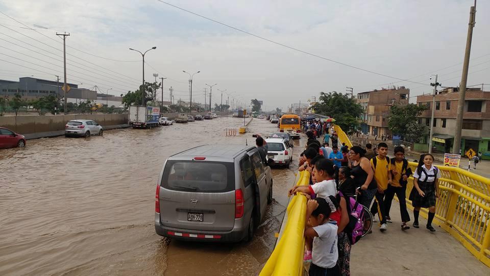La Panamericana Norte inundada.