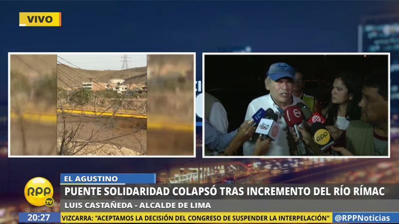 Luis Castañeda dijo que la caída del puente no se debió a una falla en la infraestructura.