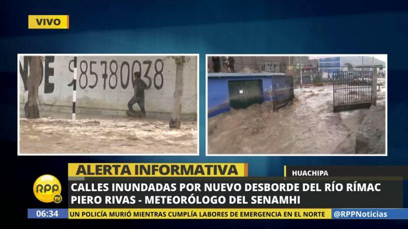 Si bien no se han presentado precipitaciones significativas en la madrugada, el caudal del Rímac ha continuado fuerte.