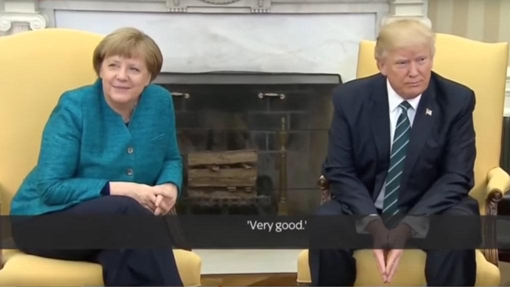 El momento en que Trump se resiste a darle la mano a Merkel.