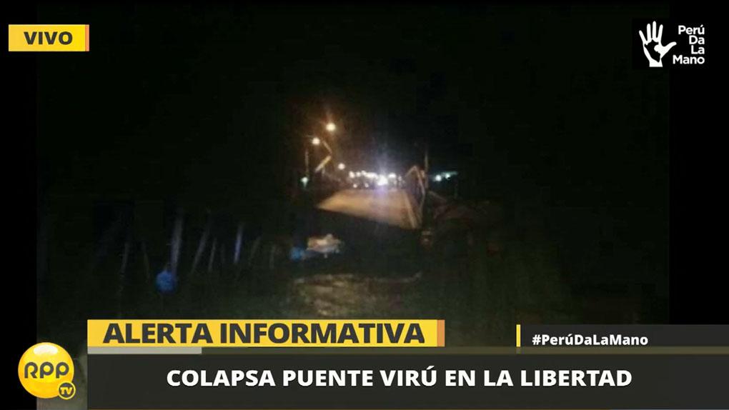 Un tráiler y un automóvil habrían caído al torrente del río Virú, según el alcalde provincial.