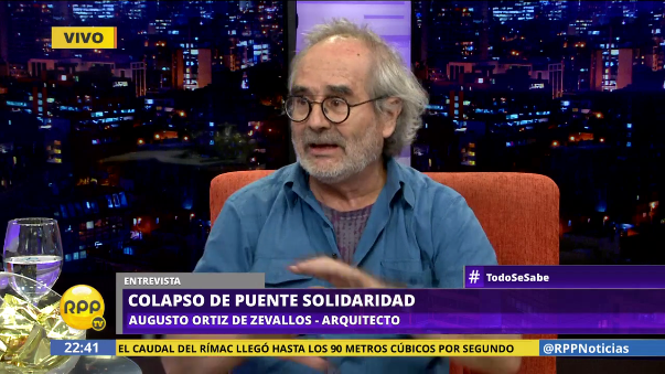 El arquitecto Augusto Ortiz de Zevallos explica de esta manera por qué se cayó el puente Talavera.