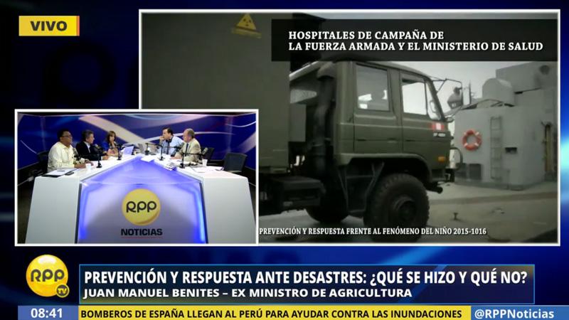El exministro de Agricultura, Juan Manuel Benites, dijo que las compras que se hicieron en al anterior gobierno permitió la respuesta ante el actual desastre natural.