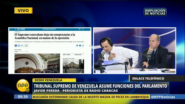 El periodista venezolano Javier Pereda conversó con RPP Noticias sobre lo ocurrido en su país.