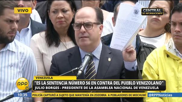 El presidente de la Asamblea Nacional de Venezuela, Julio Borges, rechazó la sentencia y el autogolpe de Maduro.