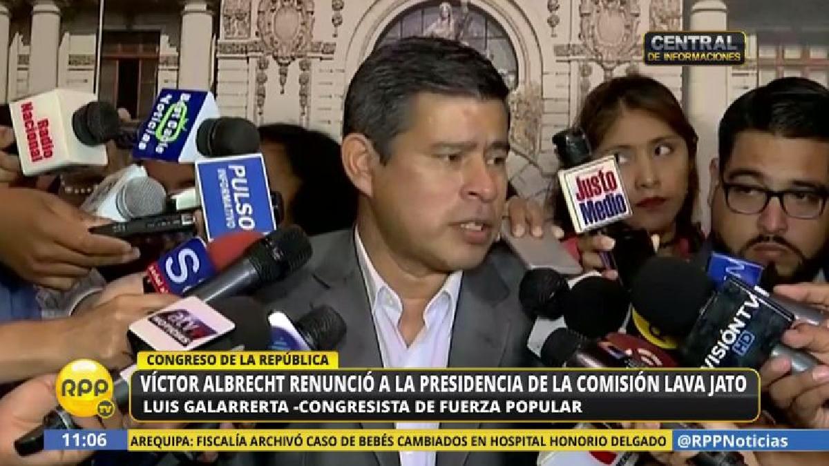 Luis Galarreta saludó el paso al costado de Víctor Albrecht y anunció que la bancada buscará a su reemplazante.
