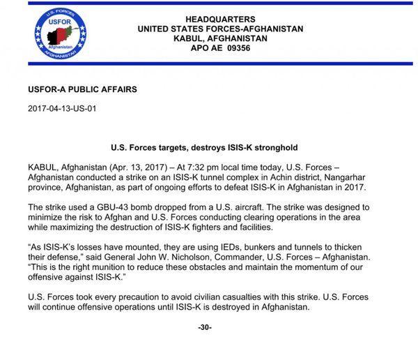 El comunicado de la misión estadounidense en Afganistán.