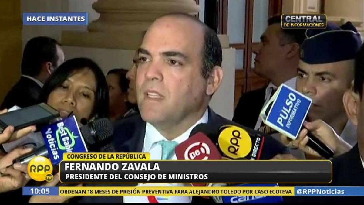 Fernando Zavala se presentará ante la Comisión de Constitución y, luego, se reunirá con la Junta de Portavoces.