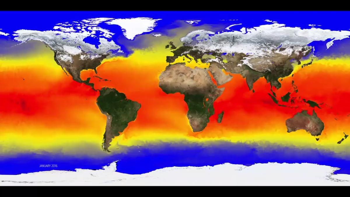 La animación muestra los cambios en la temperatura y cómo la energía se distribuye y se propaga alrededor del planeta.