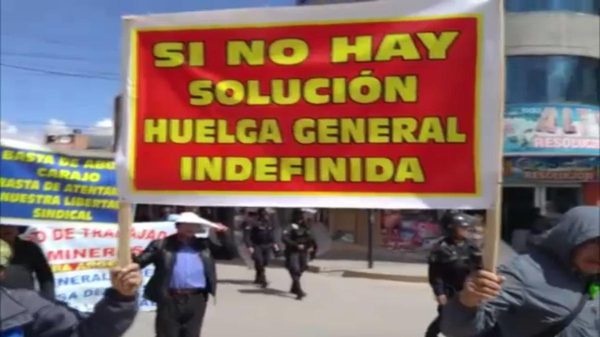 Protesta de trabajadores de minera Argentum