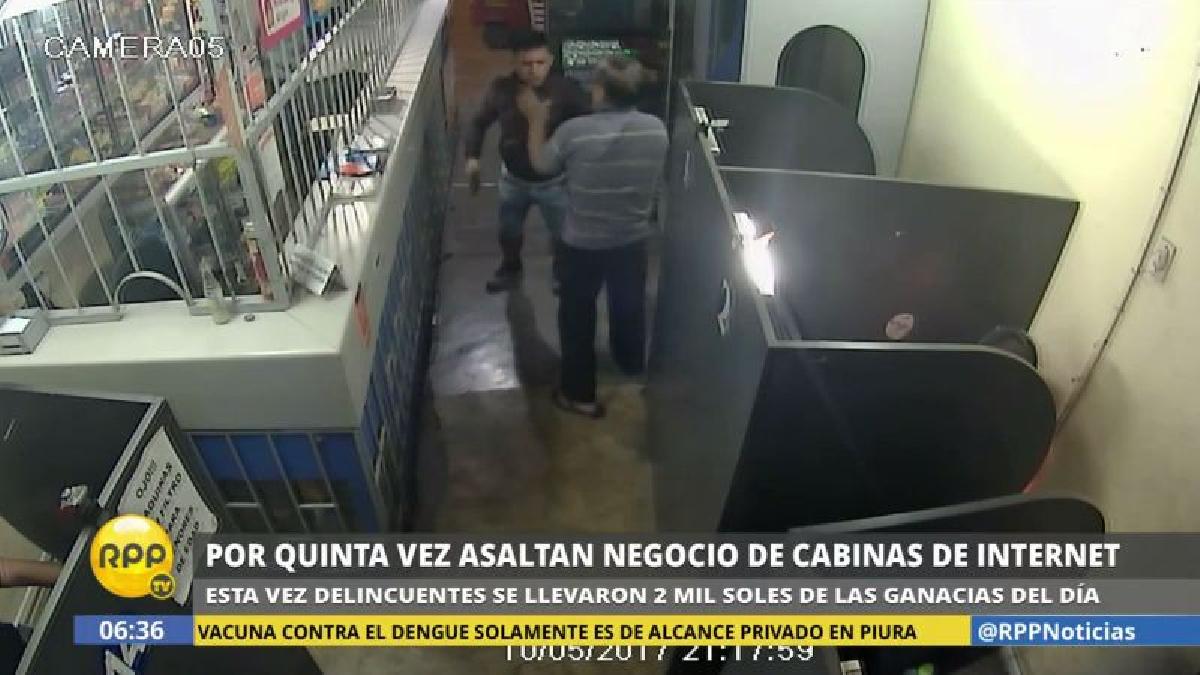 El dueño del local se enfrentó a los delincuentes, pero lo golpearon con la cacha de la pistola.