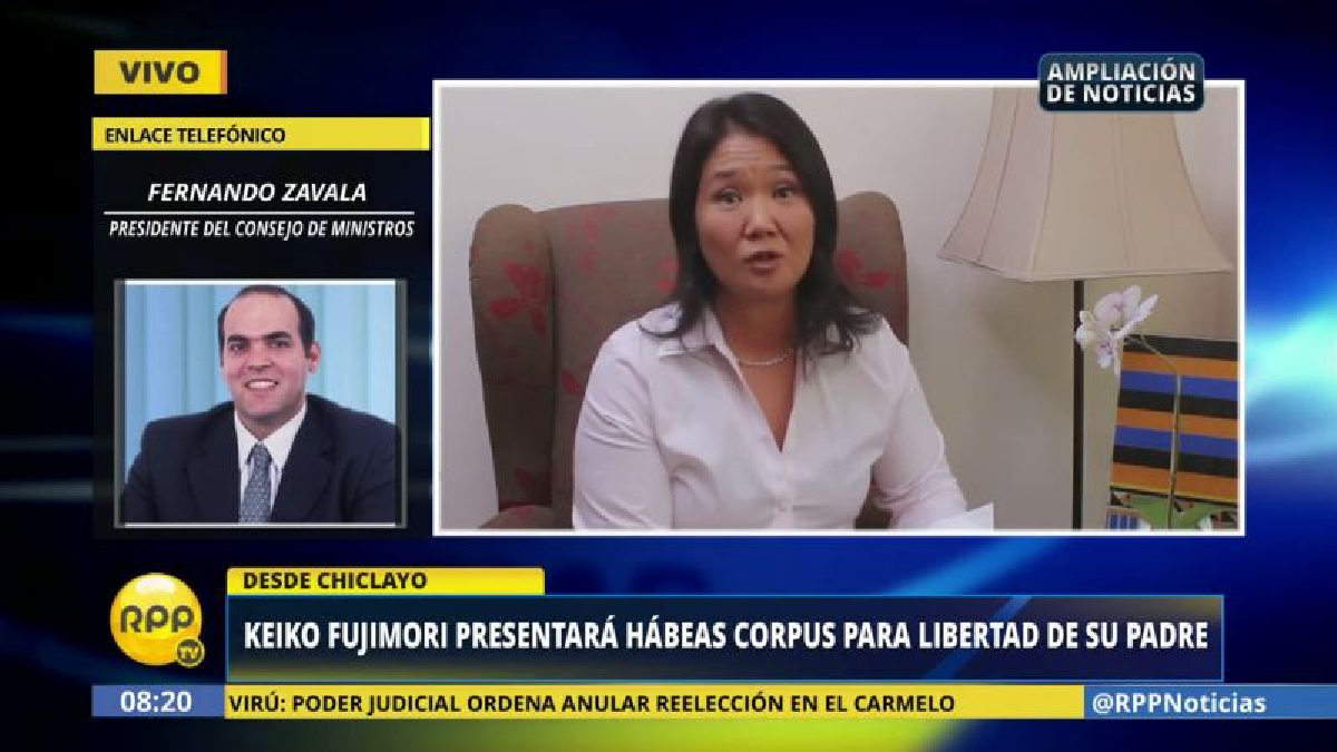 Fernando Zavala dijo que Keiko Fujimori está en su derecho de presentar un hábeas corpus a favor de su padre.