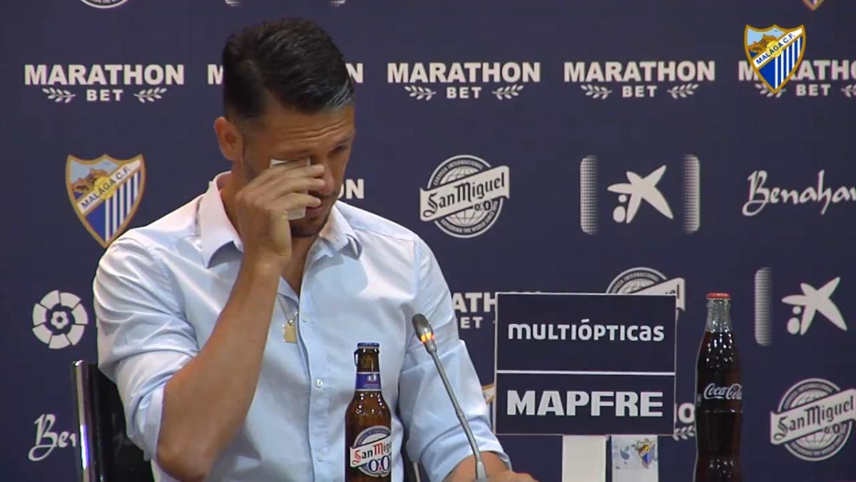 Uno de los momentos más emotivos del anuncio de Martín Demichelis.
