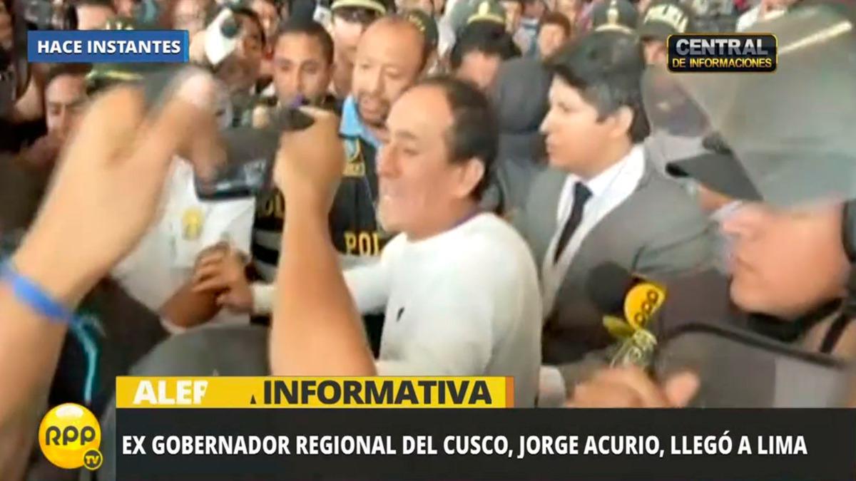 Acurio Tito llegó esta mañana a Lima y fue inmediatamente trasladado a la sede del Poder Judicial.