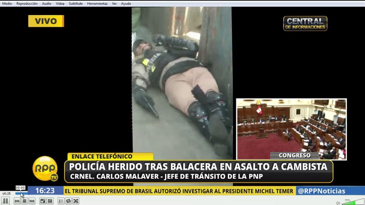 El policía está en el hospital Arzobispo Loayza.