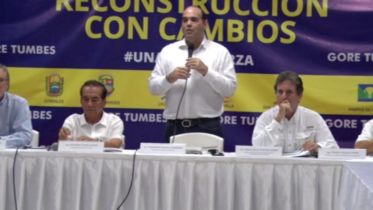 Fernando Zavala y Pablor de La Flor en Tumbes por reconstrucción tras daños que dejó el Fenómeno El Niño.