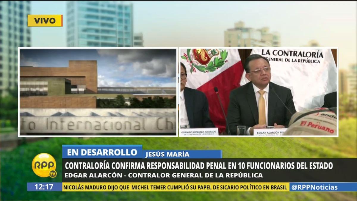 El contralor confirmó que Vizcarra no está implicado en las denuncias penales.