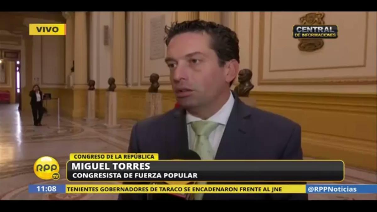 El congresista de Fuerza Popular Miguel Torres consideró que Thorne debería renunciar antes de presentarse ante la Comisión de Fiscalización.