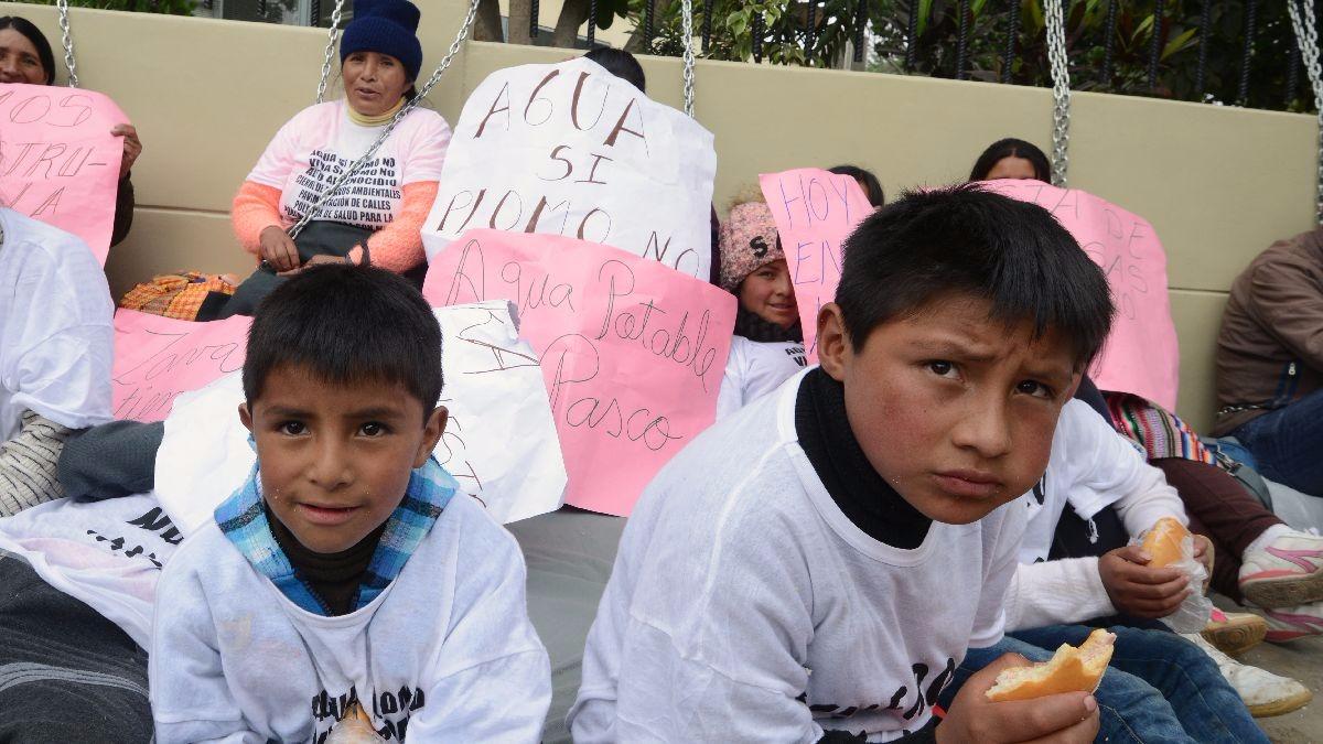Según estudios citados por los manifestantes, en Pasco hay más de 2,000 casos de niños con plomo en la sangre.