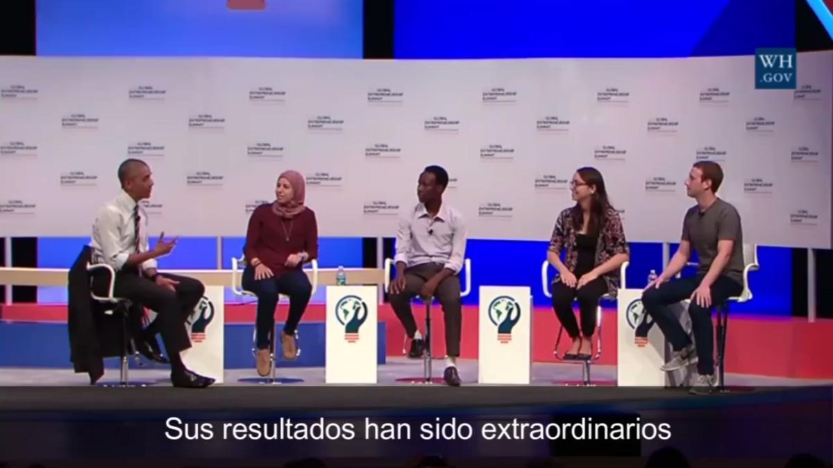 Mariana Costa durante la reunión con Obama y Zuckerberg en junio del 2016. Ambos elogiaron su iniciativa e incluso el fundador de Facebook la mencionó como un buen ejemplo cuando dio un discurso en Lima como parte del APEC 2016.