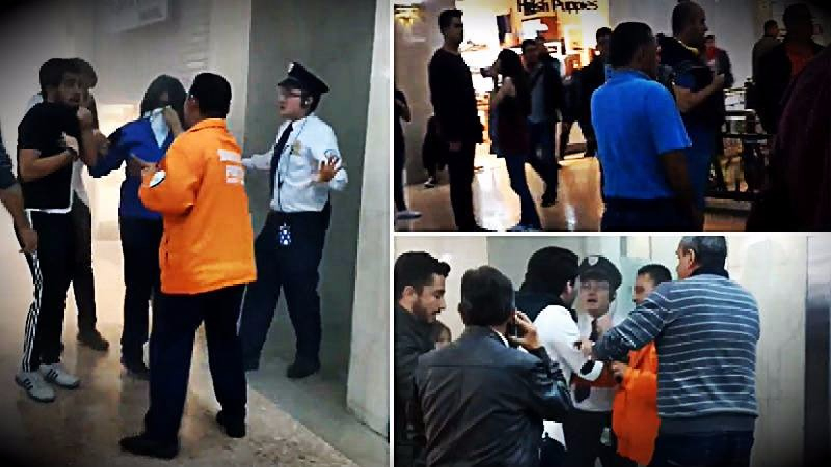 La grabación fue registrada minutos después de la explosión en el baño de mujeres del segundo piso del centro comercial Andino.