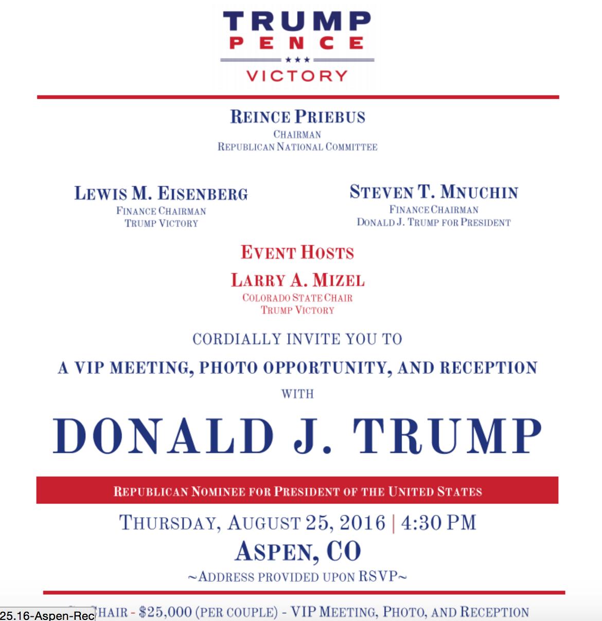 Una invitación para recaudar fondos en la campaña de 2016.