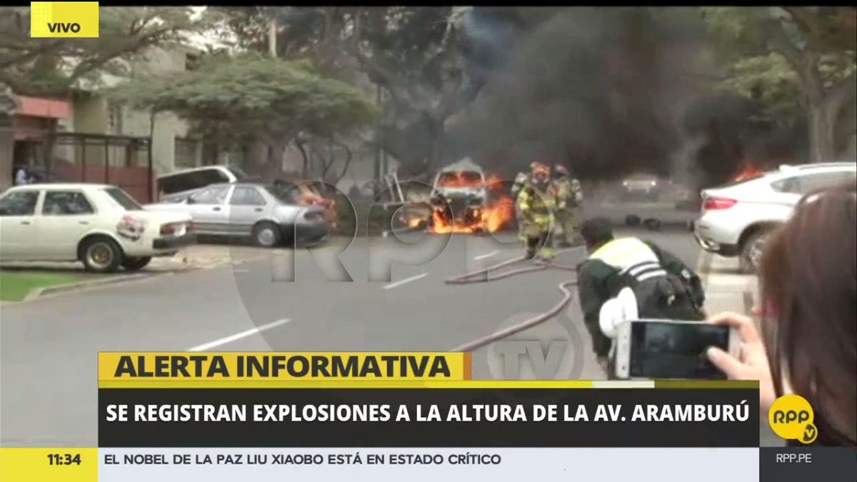 Explosiones a la altura de la av. Aramburú.