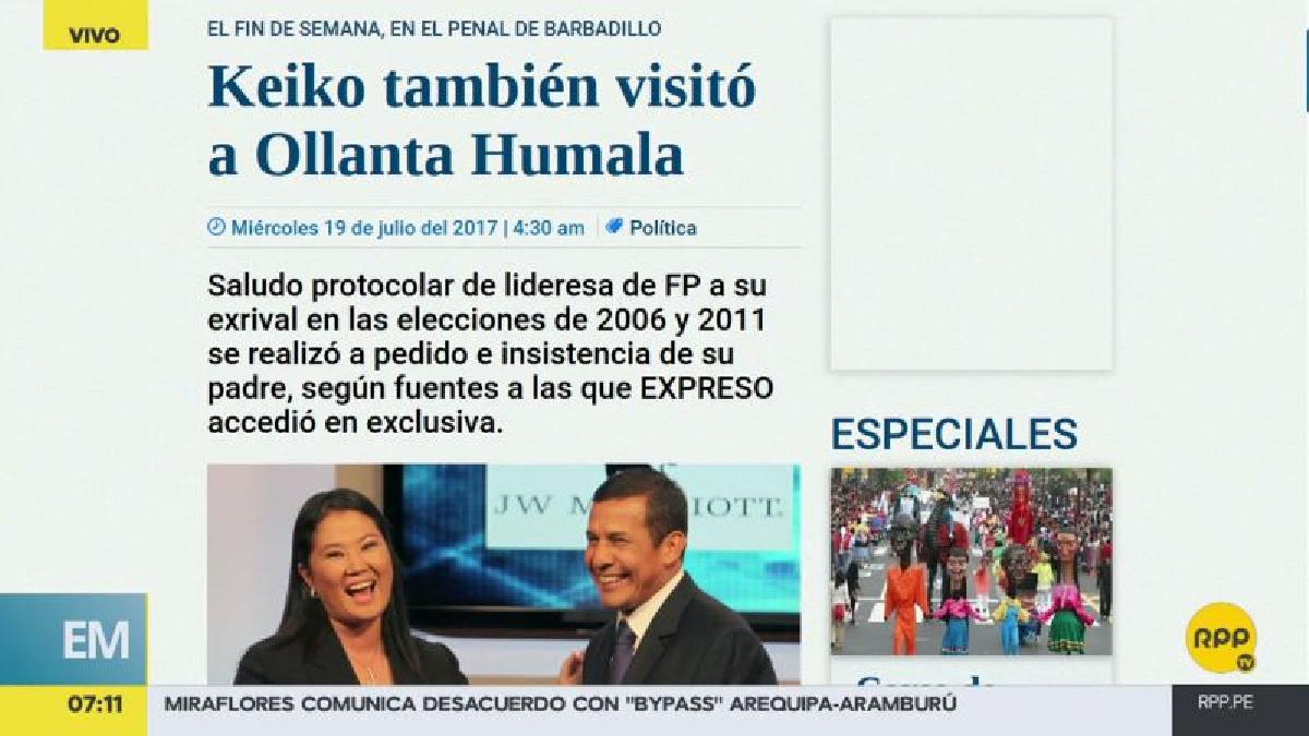 Keiko Fujimori visitó a Humala a pedido de Alberto Fujimori, según Expreso.