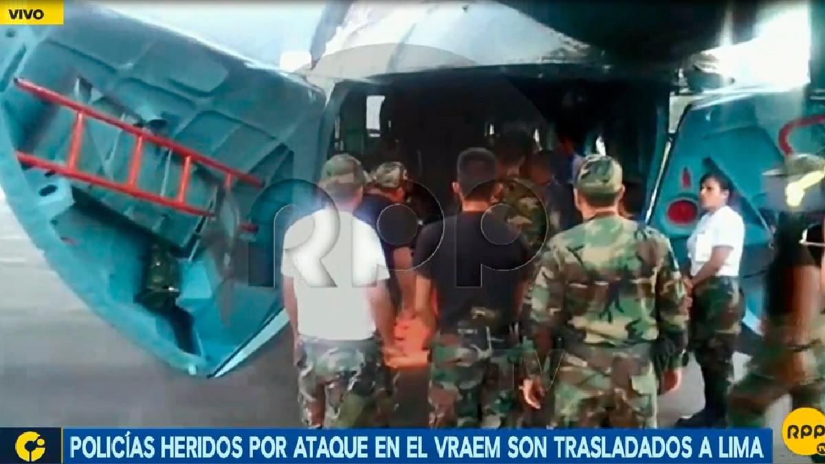 Los policías heridos en el Vraem fueron trasladados a Lima.