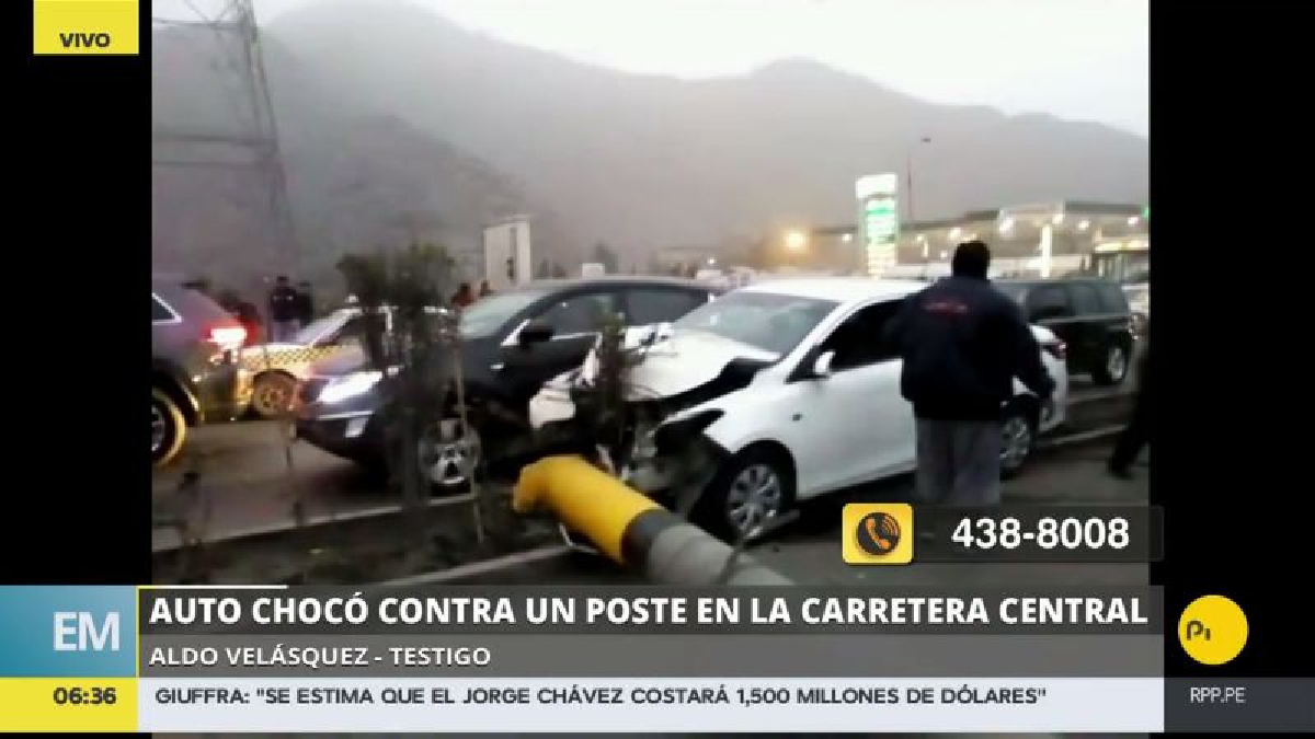Gran congestión causó este accidente en la Carretera Central.