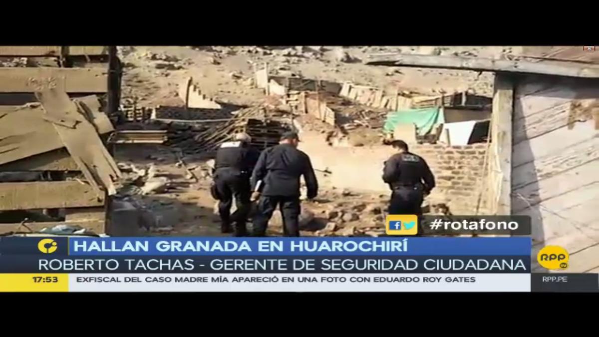 La granada fue encontrada por residentes de la zona quienes alertaron a las autoridades.