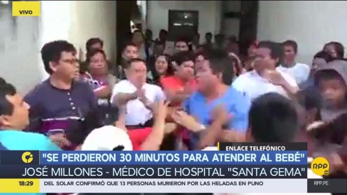 El doctor Millones comentó que pese a que intentó hacer ingresar al especialista para atender al menor, los huelguistas se lo impidieron.
