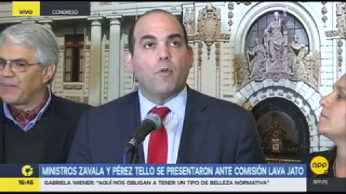Fernando Zavala compareció ante los medios tras su presentación en la Comisión Lava Jato.