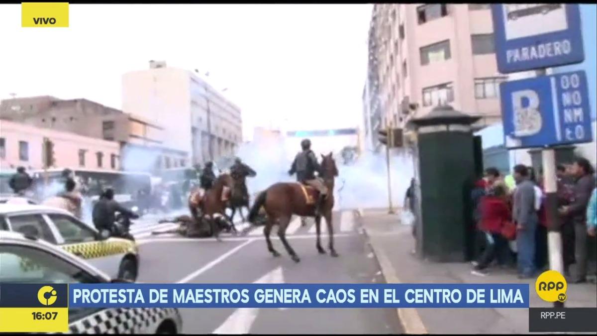 Un caballo cayó con su jinete en las protestas.