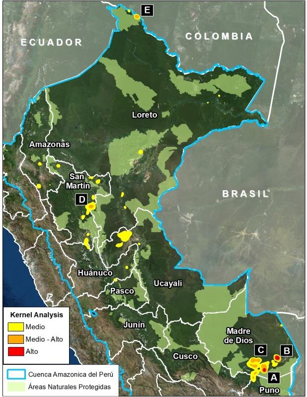 Mapa completo en donde se muestra los principales focos de deforestación.