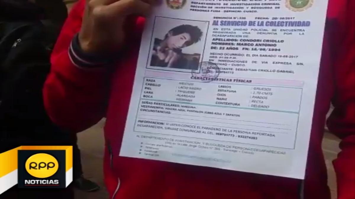 Familiares de Marco Antonio Condori, temen que su familiar haya sido victimado luego de la sustracción de dinero.