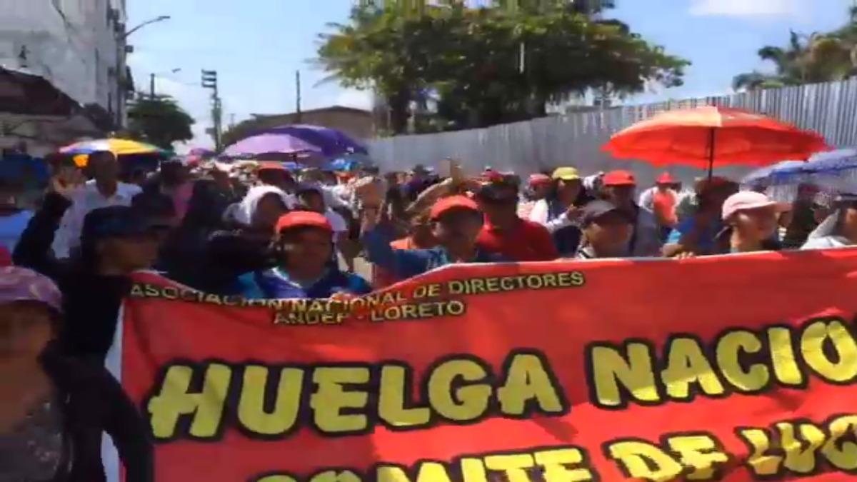 Marcha de la CGTP en Iquitos.