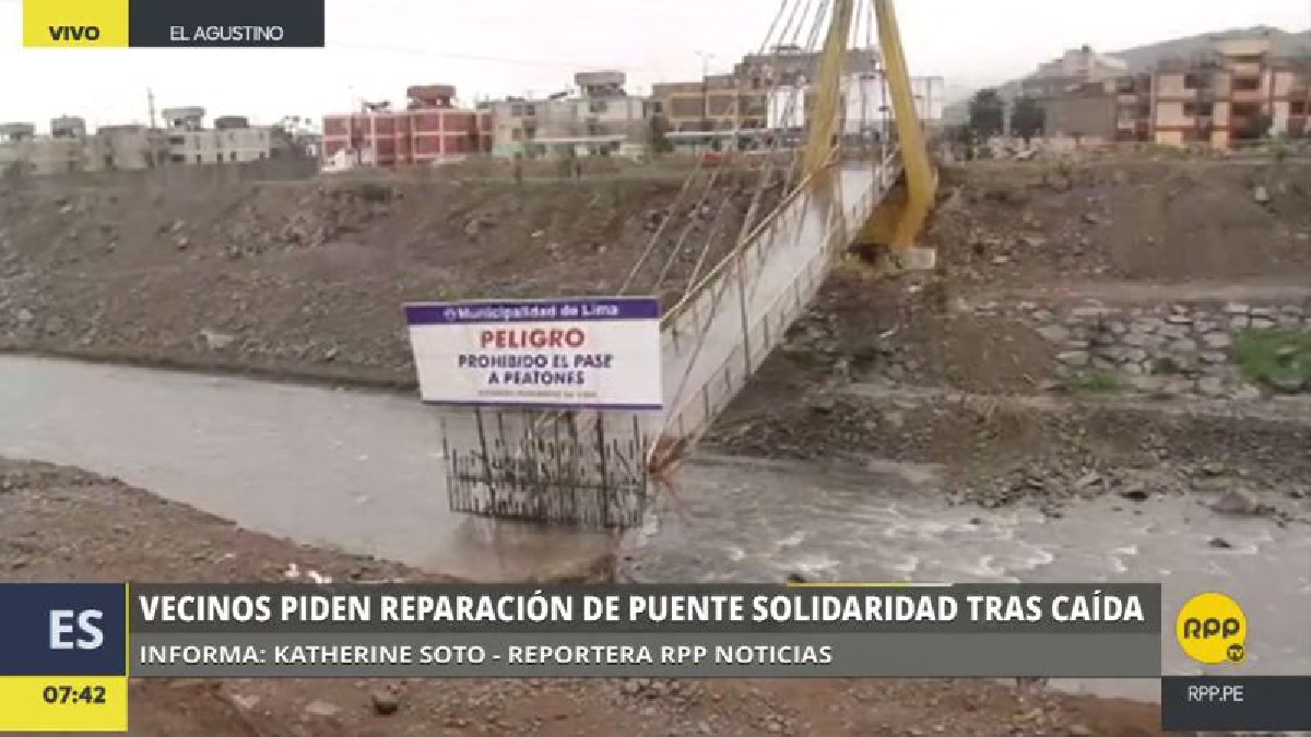 El Puente Solidaridad cayó el pasado 16 de marzo, pero desde esa fecha solo se han colocado rejas para evitar el paso de la gente.