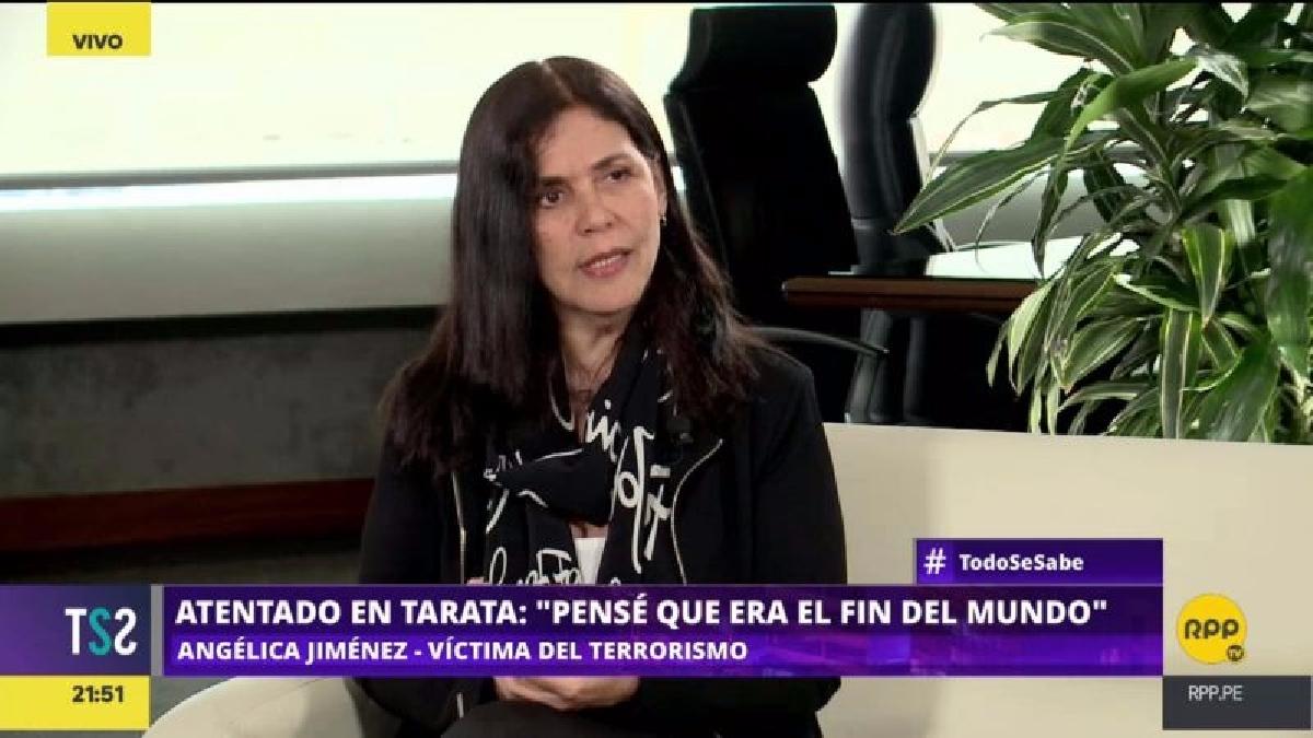 Angélica Jiménez vivía en el octavo piso de un edificio de la calle Tarata cuando sucedió el atentado de Sendero Luminoso de 1992, producto de la explosión perdió un la vista en un ojo.