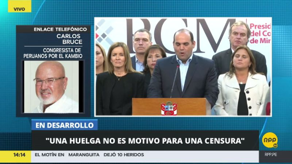 El oficialista Carlos Bruce respaldó el pedido de confianza.