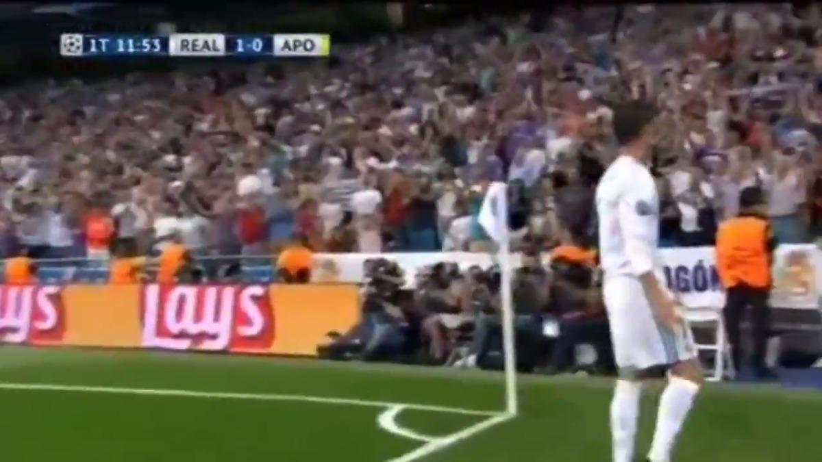 Cristiano Ronaldo celebrando en el Santiago Bernabéu.