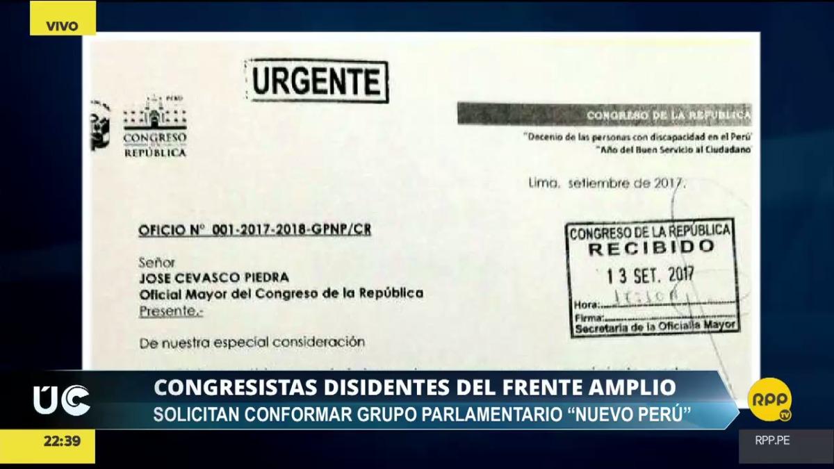 El oficio fue enviado al oficial mayor José Cevasco.