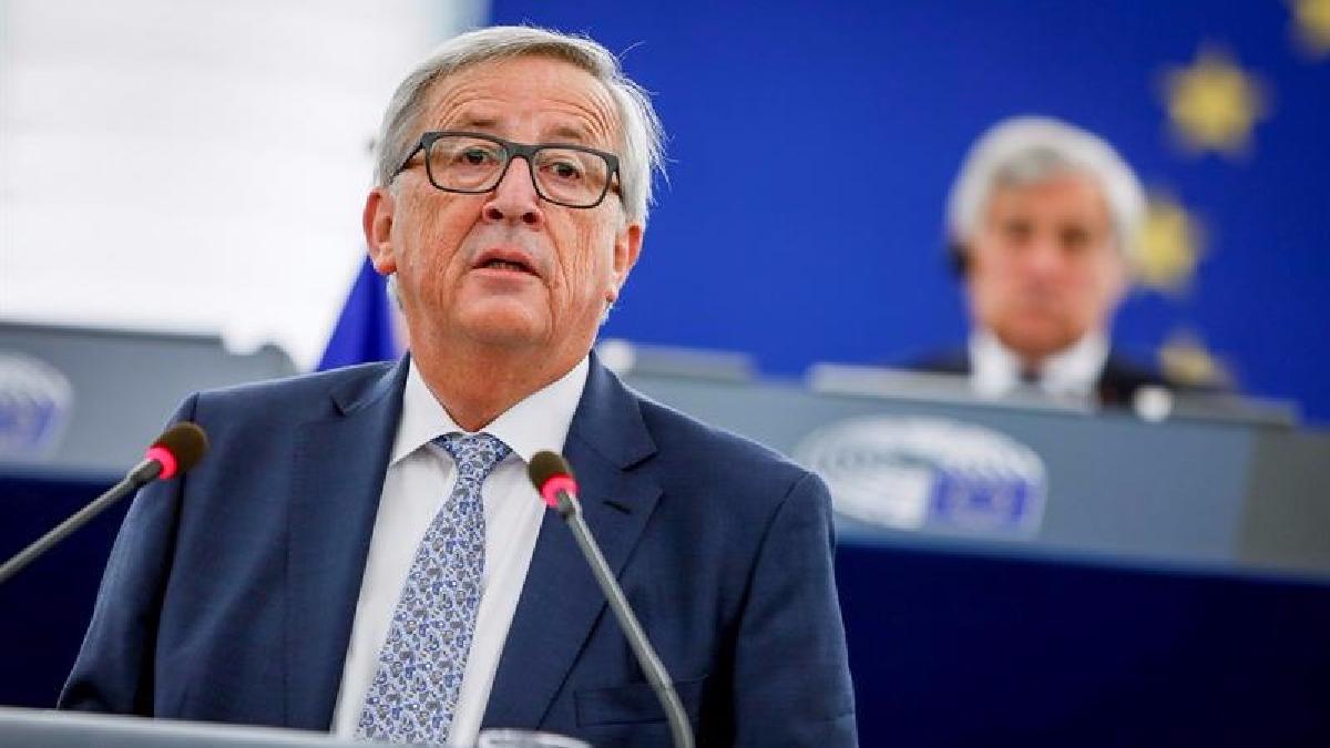 El presidente de la Comisión Europea, Jean-Claude Juncker, preside el debate del estado de la Unión en Eurocámara en Estrasburgo (Francia).