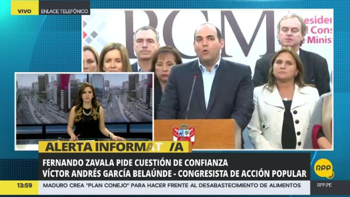 """Víctor Andrés García Belaunde calificó de """"exageración"""" el pedido de confianza al Congreso."""