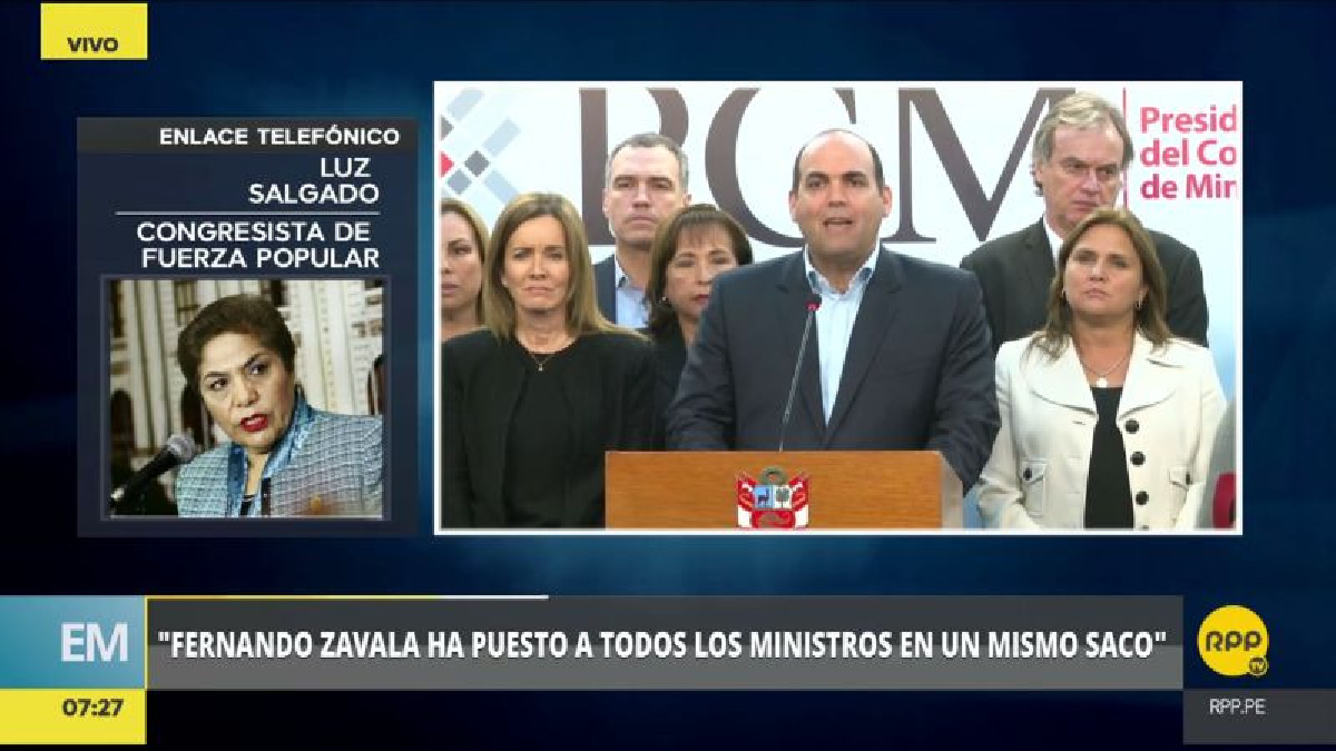 """Luz Salgado calificó como una """"irresponsabilidad"""" la presentación de una cuestión de confianza por parte de Fernando Zavala."""