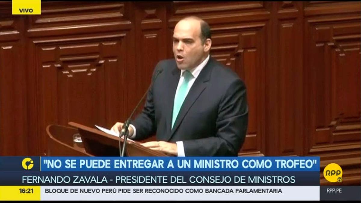 La sustentación de la cuestión de confianza de Fernando Zavala ante el pleno del Congreso