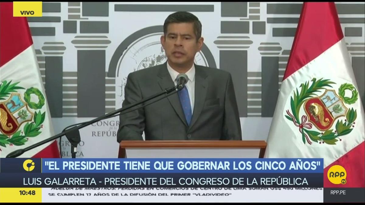 Galarreta dio una conferencia de prensa este viernes. La noche anterior, el Pleno del Congreso decidió por mayoría retirar su confianza al Gabinete de Ministros liderado por Fernando Zavala.