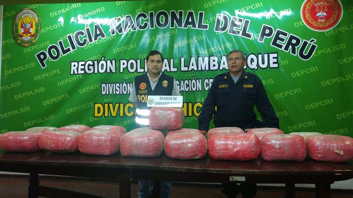 Policía Nacional incautó 34 kilos de marihuana.