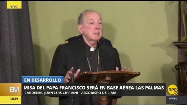 El cardenal Juan Luis Cipriani coincidió con el cambio de sede a la base aérea Las Palmas y pidió que se garantice un buen acceso a los ciudadanos.